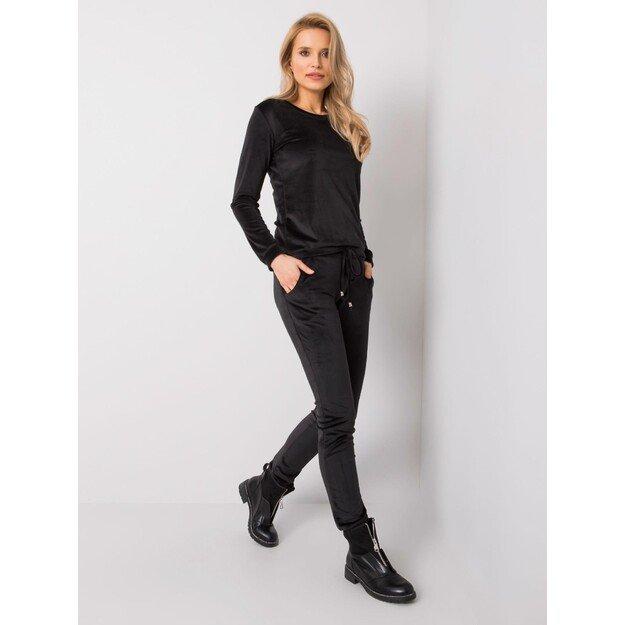 Moteriškas veliūrinis  laisvalaikio kostiumėlis CLARISA - Juodas