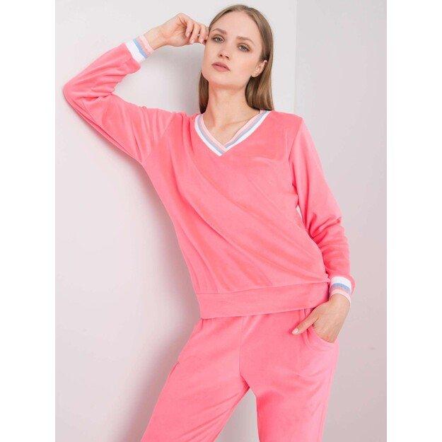 Moteriškas veliūrinis  laisvalaikio kostiumėlis RUE PARIS - Ryškiai rožinis