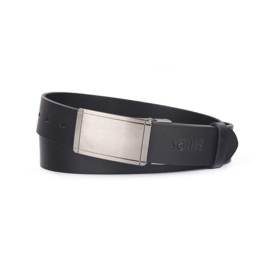 Elegant black leather belt SOLIER SB12