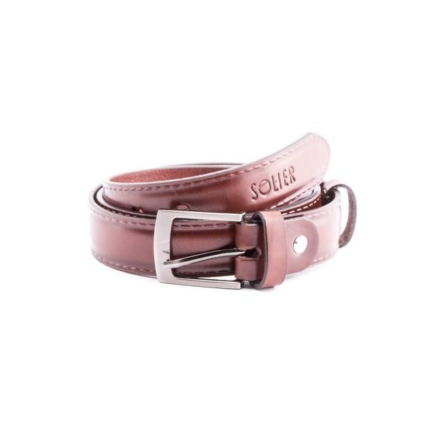 Elegant dark brown leather belt SOLIER SB09