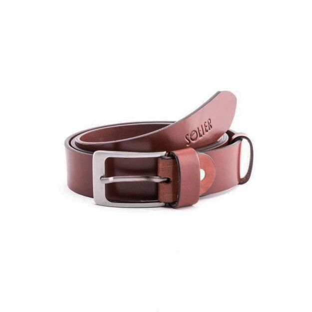 Elegant dark brown leather belt SOLIER SB11