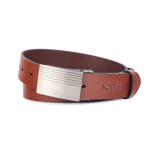 Elegant dark brown leather belt SOLIER SB12