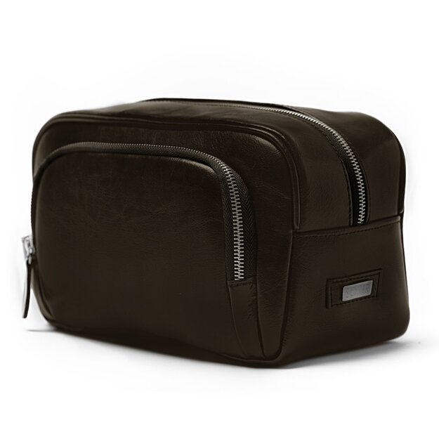 Elegant genuine leather men's beauty bag SK04 SOLIER dark brown