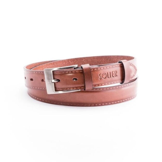 Elegant light brown leather belt SOLIER SB09