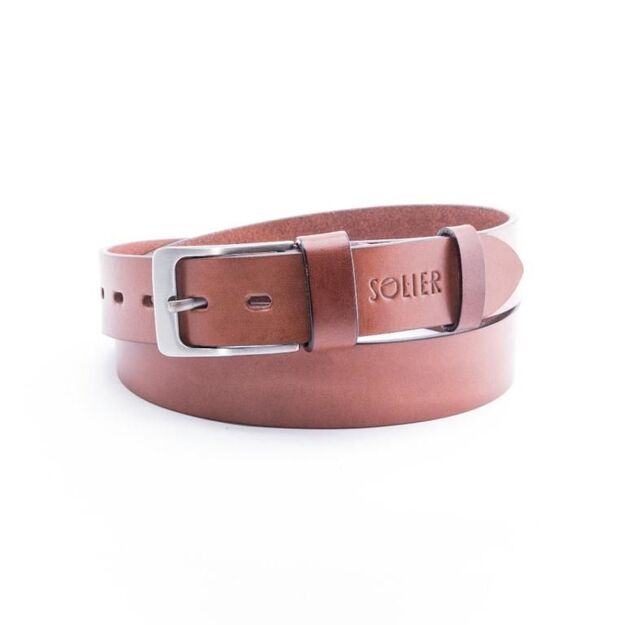 Elegant light brown leather belt SOLIER SB10