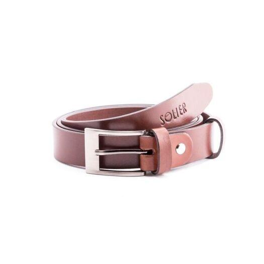 Elegant light brown leather belt SOLIER SB10