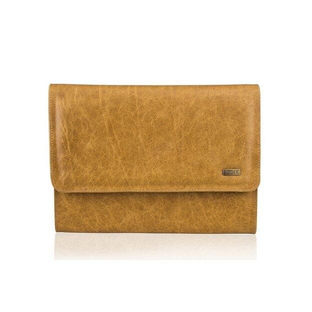Genuine leather conference folder Solier SA01 OBAN cognac