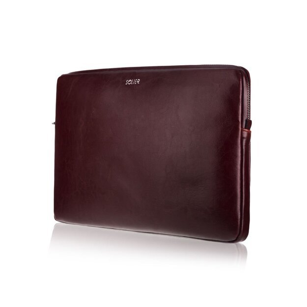 Genuine leather laptop case 15' Solier SA23A Burgundy