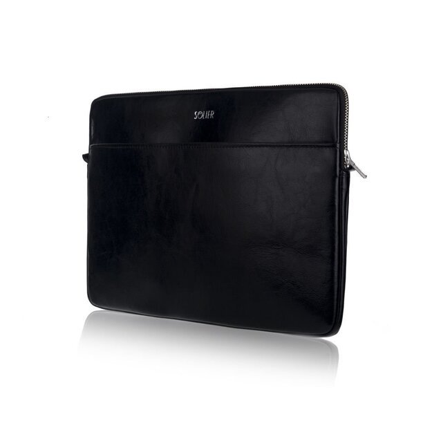 Genuine leather laptop case 15' Solier SA24A Black