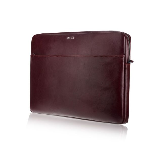 Genuine leather laptop case 15' Solier SA24A Burgundy