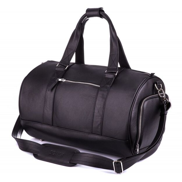 GENUINE LEATHER MEN'S WEEKEND BAG SL19 BRANDON BLACK