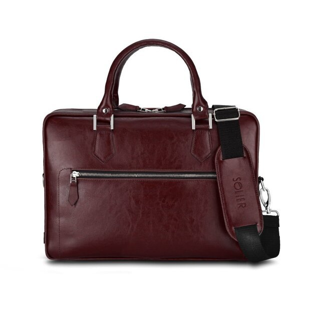 Laptop bag Solier SL23 brown-maroon