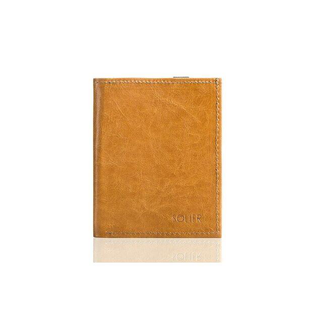 Piniginė - paso dėklas SOLIER SW07 - Šviesiai ruda