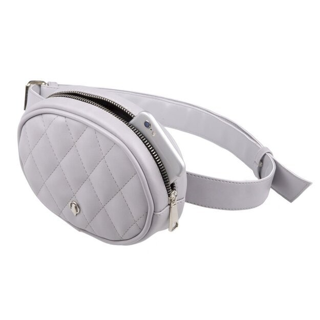 Quilted eco leather women's waist bag BN01 light grey