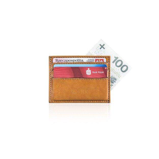 Slim leather men's wallet card holder SOLIER SA13