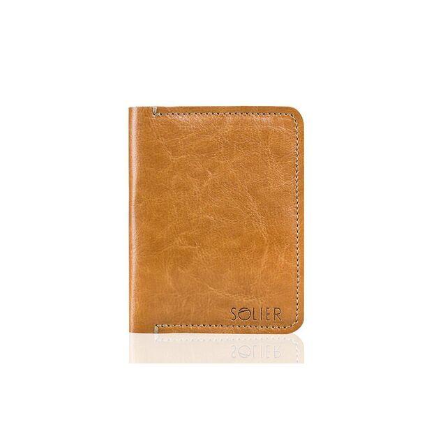 Slim leather men's wallet SOLIER SW10 SLIM LIGHT BROWN