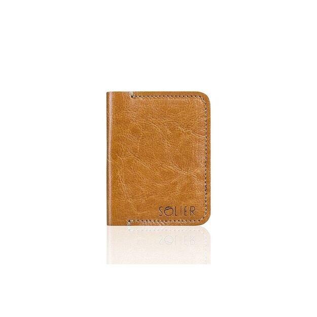 Slim leather men's wallet SOLIER SW11 SLIM LIGHT BROWN