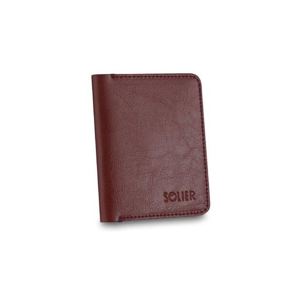 Vyriška piniginė su skyriumi monetoms SOLIER SW15 SLIM - Tamsi raudona