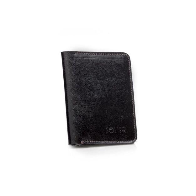 Slim leather men's wallet with coin holder SOLIER SW15 SLIM DARK BROWN