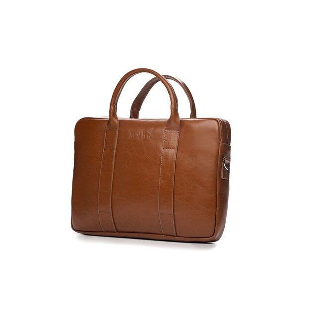 Vintage brown leather shoulder laptop bag EDYNBURG