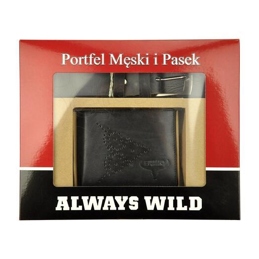 Diržas ir piniginė dobanų komplektas vyrui Always Wild PSB-N7-01-GG